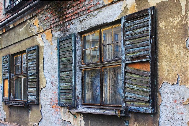 old, broken windows